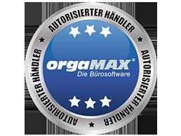 Siegel mit Logo von orgaMax deltra Business Software Autorisierter Händler